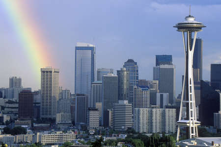 Rainbow over Seattle, WA skyline with Space Needle