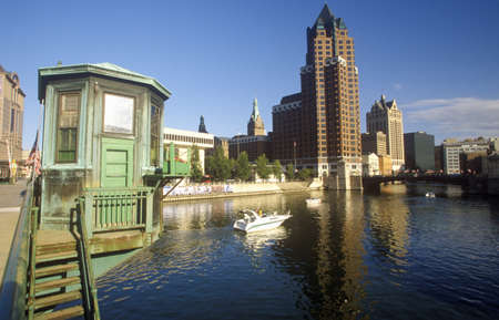 Milwaukee skyline with Menomonee River in foreground, WI Editorial