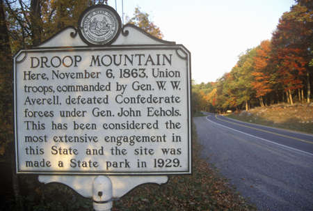 battleground: Sign at the entrance of Droop Mountain Battlefield State Park, Civil War battleground, Scenic Route 39, WV