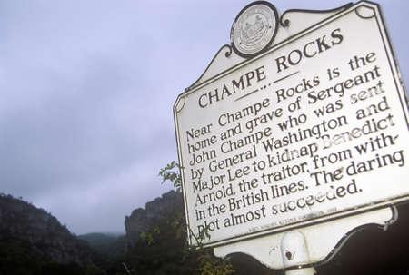 seneca: Champe Rocks, site of Grave of Sergeant John Champe, Seneca Rocks, Scenic Highway Route 33, Harmon, WV