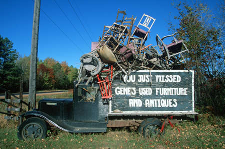 mi: Antique truck filled with old chairs, MI