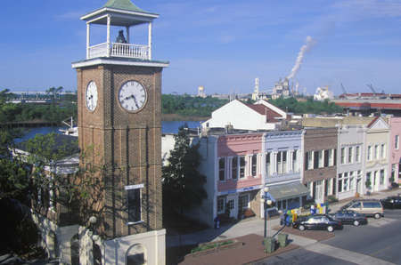 The Belltower and historic waterfront stores, Georgetown, SC Editorial