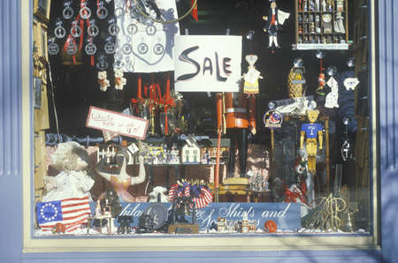 the novelty: Novelty items in storefront a window, Philadelphia, PA