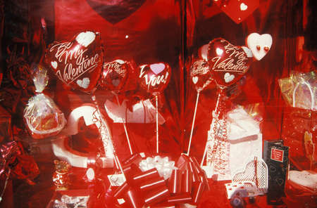 window display: Valentines Day display in storefront window, NY