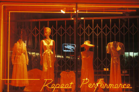 Women's nightgowns in a storefront window, Los Angeles, CA