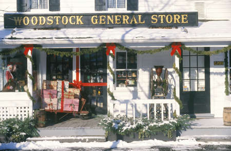 general store: General store decorated for Christmas, Woodstock, NY Editorial