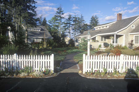 cape cod style: House with white picket fence ,Spruce Head Harbor, ME