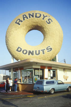 business sign: Giant cement donut, Los Angeles, CA