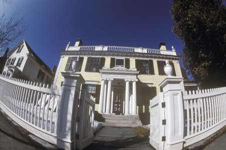 distort: Victorian house with white picket fence through fish-eye lens, Woodstock, NY