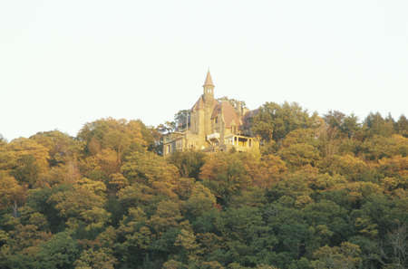 Castle on the Hudson River in autumn, Hudson Valley, NY Editorial