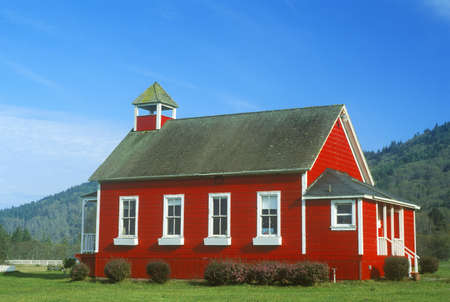 ca: Red, one-room schoolhouse, Stone Lagoon on PCH,  Northern CA