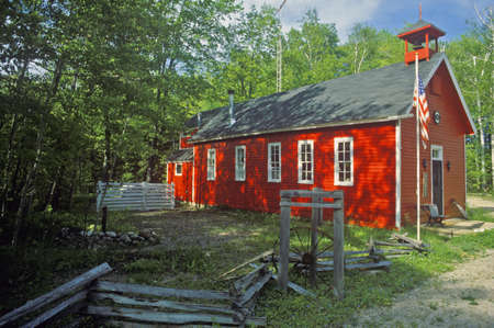 split rail: Red schoolhouse in rustic setting, MI