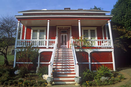 residence: Red  residence with white trim, CA