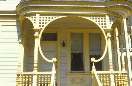 residence: Unusual lattice work on porch of San Francisco, CA residence