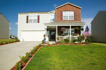 domesticity: Single house in new housing development near Charlotte, North Carolina