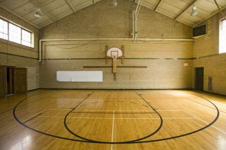 gymnasium: High school basketball court and head of key at Webster Groves High School in Webster Groves, Missouri