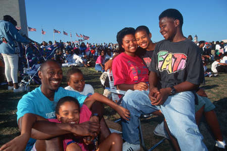 ethnic people: An African-American family picnic at the Washington National Monument, Washington D.C. Editorial
