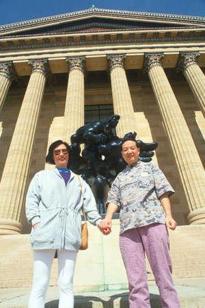 An Taiwanese couple in front of the Philadelphia Museum of Art, Pennsylvania Redakční