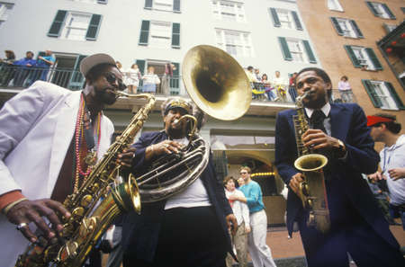 jazz: Jazz musicians performing on the French Quarter, New Orleans at Mardis Gras, LA