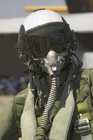 flight helmet: Dummy Jet Pilot with flight suit posing at the 42nd Naval Base Ventura County (NBVC) Air Show at Point Mugu, Ventura County, Southern California. Editorial