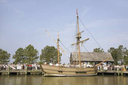 replica: The Susan Constant, Godspeed and Discovery, re-creations of the three ships that brought English colonists to Virginia in 1607, flying the English and Union Jack flags and sailing down the James River on May 12, 2007, as part of the 400th Anniversary prog Editorial