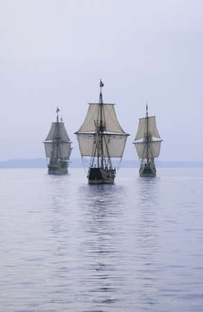 The Susan Constant, Godspeed and Discovery, re-creations of the three ships that brought English colonists to Virginia in 1607, flying the English and Union Jack flags and sailing down the James River on May 12, 2007, as part of the 400th Anniversary prog