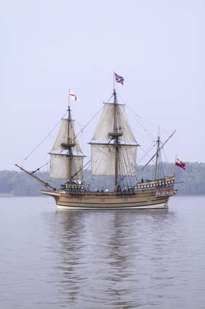 constant: The Susan Constant, Godspeed and Discovery, re-creations of the three ships that brought English colonists to Virginia in 1607, flying the English and Union Jack flags and sailing down the James River on May 12, 2007, as part of the 400th Anniversary prog Editorial