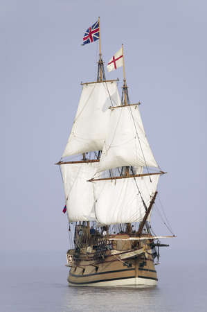 old english: The Susan Constant, Godspeed and Discovery, re-creations of the three ships that brought English colonists to Virginia in 1607, flying the English and Union Jack flags and sailing down the James River on May 12, 2007, as part of the 400th Anniversary prog Editorial