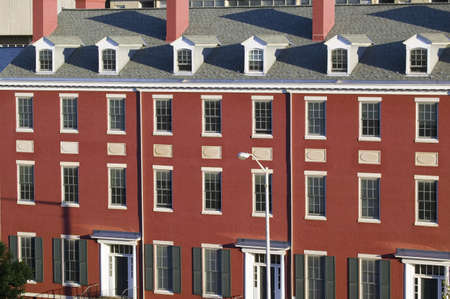 redbrick: Renovated red-brick town homes , known as Row Houses, of downtown Baltimore, Maryland