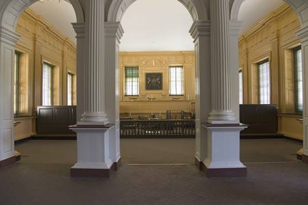 courtroom: The Independence Hall courtroom, the Halls of Democracy, Philadelphia, Pennsylvania
