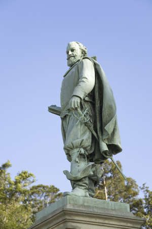 cultural artifacts: Statue by William Couper in 1909 of Captain John Smith located at James Fort, Jamestown Island, Americas Birthplace, Jamestown, looking over James River, to memorialize the site of the first permanent English colony in America, May 13, 1607. Photo taken