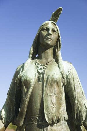 Pocahontas Statue, by William Ordway Partridge, erected in 1922, representing Pocahontas the favorite daughter of Powhatan, who ruled the Powhatan Confederacy. She was born about 1595, probably at Werowocomoco 16 miles from Jamestown and died in Gravesend