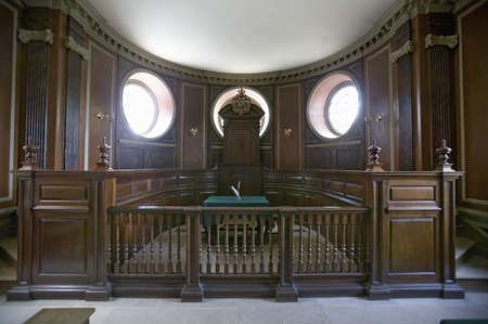 court room: Early court room in Capitol Building of Colonial Williamsburg, Virginia. Editorial