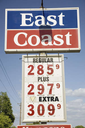 unleaded: Close-up of East Coast Gas Station sign, Virginia shows gasoline at $2.85 per gallon of unleaded Editorial