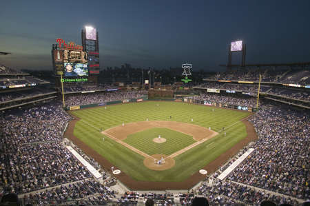 Panoramic view of 29,183 baseball fans at Citizens Bank Park, Philadelphia, PA, who are watching Philadelphia Phillies beat the Milwaukee Brewers by a score of 8 to 6 on May 14, 2007