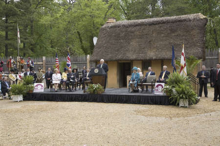 queen elizabeth ii: Vice President Dick Cheney speaking during ceremony at James Fort at Jamestown Settlement, Virginia on May 4, 2007, the 400th Anniversary of English establishment of 1607 Jamestown Colony, Virginia. Her Majesty Queen Elizabeth II, Governor Timothy Kaine a