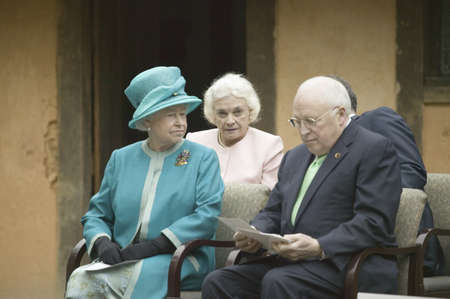 Left to right, Her Majesty Queen Elizabeth II, former Supreme Court Justice Sandra Day OConnor and Vice President Dick Cheney observing ceremony at James Fort, Jamestown Settlement, Virginia on May 4, 2007, the 400th Anniversary of English establishment