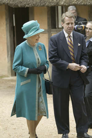 Phil Emerson and Her Majesty Queen Elizabeth II visiting James Fort, Jamestown Settlement, Virginia on May 4, 2007, the 400th Anniversary of English establishment of 1607 Jamestown Colony, Virginia