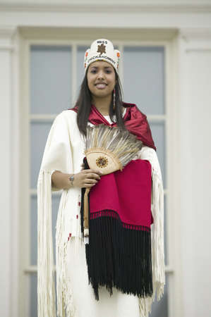 the descendant: Miss Chickahomny American Indian and descendant of Powhatan Indian Tribe posing in front of State Capitol in Richmond Virginia during 400th Anniversary of Jamestown Settlement, May 3, 2007 Editorial
