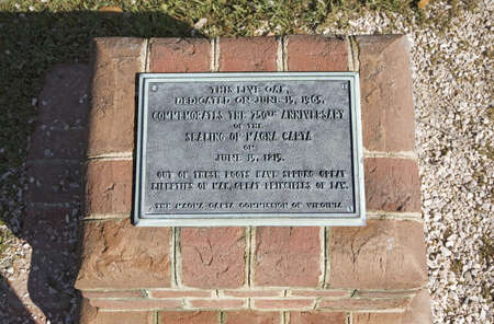 Plaque commemorating the 750th anniversary of the Magna Carte, June 15, 1215 to June 15, 1965, the source of liberties and law, Jamestown, Virginia, the site of the first permanent English Colony.