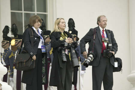 american media: International press corps, the media, standing with cameras in front of the Virginia State Capitol in Richmond Virginia, as part of the 400th anniversary of the Jamestown Settlement, May 3, 2007