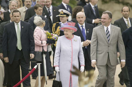 Her Majesty Queen Elizabeth II, Queen of England and Virginia Governor Timothy M. Kaine arriving at the Virginia State Capitol, Richmond Virginia as part of the 400th anniversary of the Jamestown Settlement, May 3, 2007  Editorial