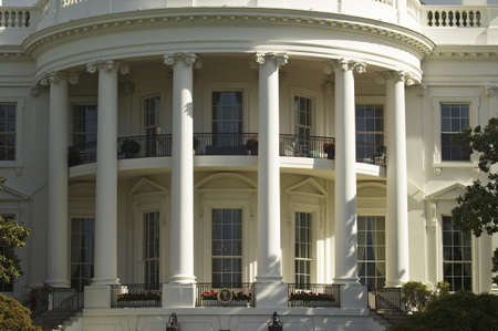 white house: The pillars of the South Portico of the White House, the Truman Balcony, in Washington, DC on May 7, 2007, in preparation for the visit of Her Majesty Queen Elizabeth II and President George W. Bush