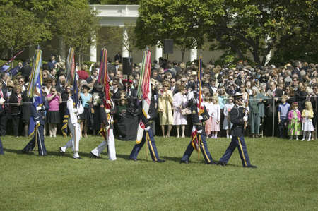 guard house: Military branches carrying state colors on May 7, 2007 at the White House, as part of the welcoming of Her Majesty Queen Elizabeth II to Washington, DC and America