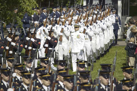 duke: Military branches marching onto the South Lawn of the White House for the May 7, 2007 Official State Welcoming of Her Majesty Queen Elizabeth II and Prince Philip, the Duke of Edinburgh to Washington, DC and America by President George W. Bush Editorial
