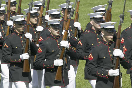 guard house: Military branches marching onto the South Lawn of the White House for the May 7, 2007 Official State Welcoming of Her Majesty Queen Elizabeth II and Prince Philip, the Duke of Edinburgh to Washington, DC and America by President George W. Bush Editorial