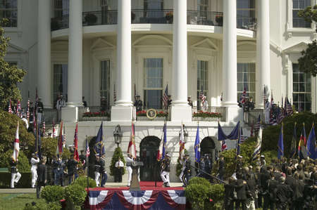 guard house: Military branches marching on the stage in front of the South Lawn of the White House for the May 7, 2007 Official State Welcoming of Her Majesty Queen Elizabeth II and Prince Philip, the Duke of Edinburgh to Washington, DC and America by President George Editorial