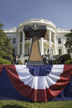 Presidential Seal on podium in front of the South Portico of the White House, the Truman Balcony, in Washington, DC on May 7, 2007, in preparation for the visit of Her Majesty Queen Elizabeth II and President George W. Bush Editorial