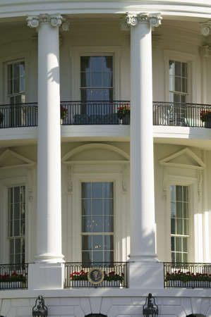 white house: Two pillars of the South Portico of the White House, the Truman Balcony, in Washington, DC
