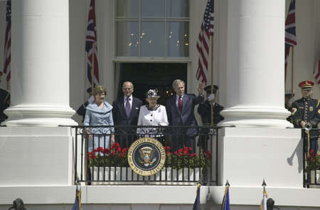 From left to right, First Lady Laura Bush, Prince Philip, the Duke of Edinburgh, Queen Elizabeth II and President George W. Bush waving from the Truman Balcony on the South Lawn of the White House on May 7, 2007, as part of the official welcoming ceremony